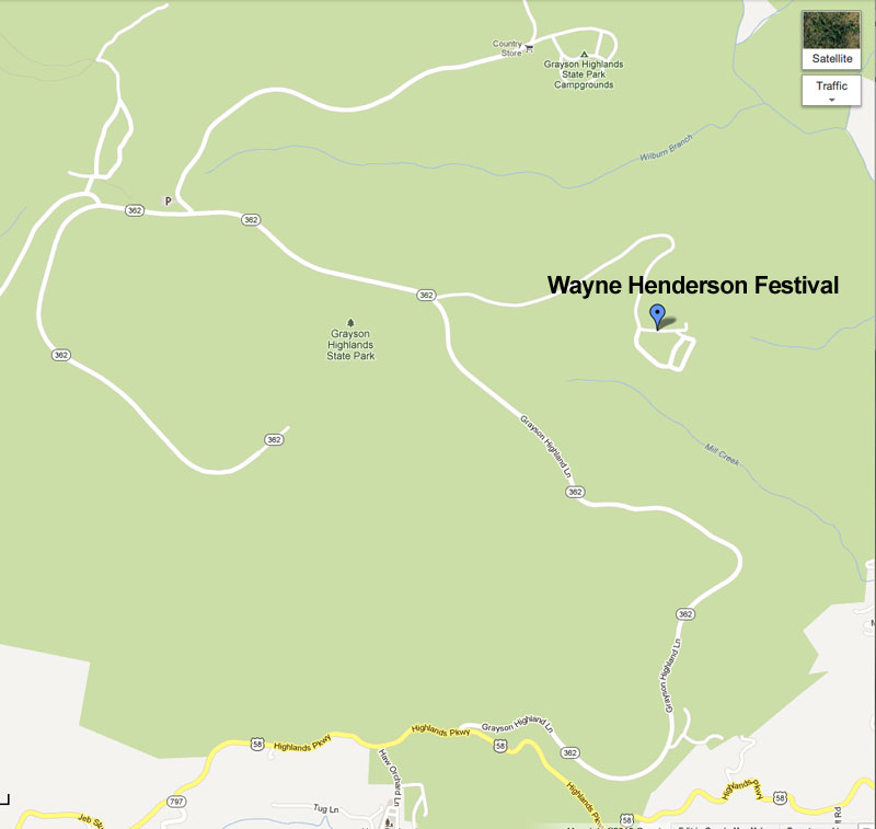 Map Location to the Wayne Henderson Festival